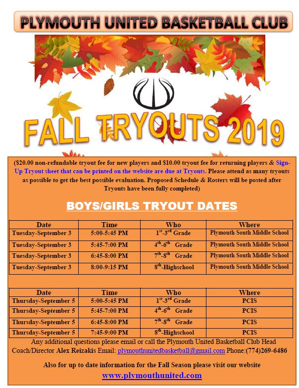 Fall tryouts 2019