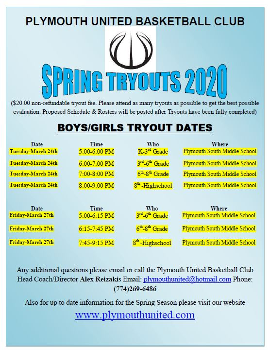 plymouth united tryouts 2020